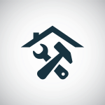 Icon, design element for house, property renovation. Image shows a roof of a house over a crossed hammer and spanner