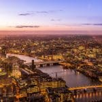 An aerial photograph of central London and the Thames