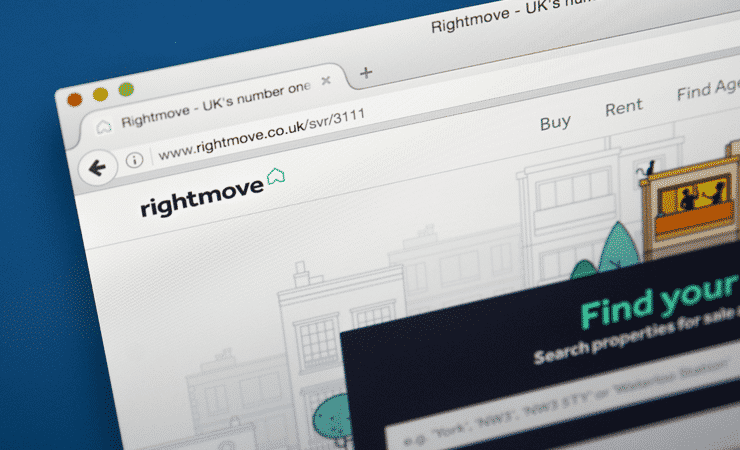 The homepage of the website, Rightmove - The UK's biggest and most popular property portal.