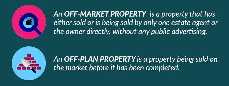 The difference between an off-market property and an off plan property?