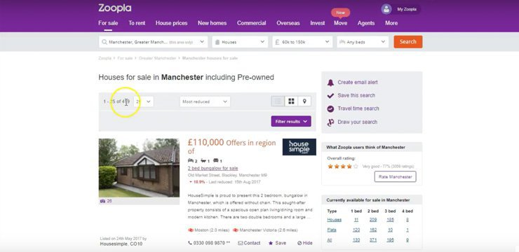 using the most reduced filter on Zoopla to find great investment property