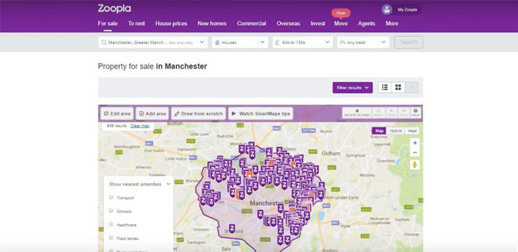 using the map search function on zoopla to find investment property