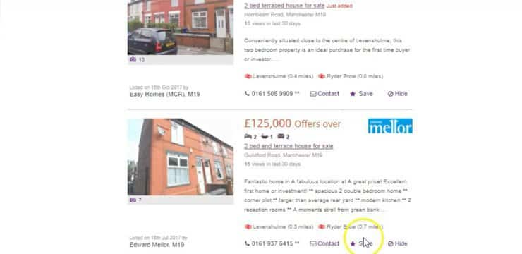 finding investment property with zoopla using the most recent filter