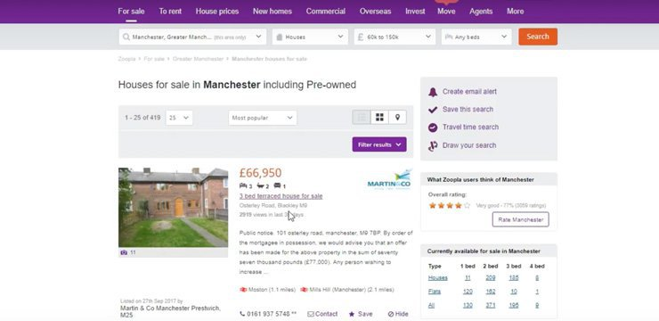 most popular search filter on Zoopla to find investment property
