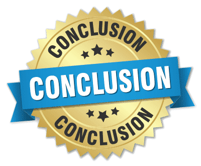 Icon, badge, design element with text saying conclusion