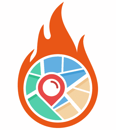 Icon and design element for a heat map showing a map on fire