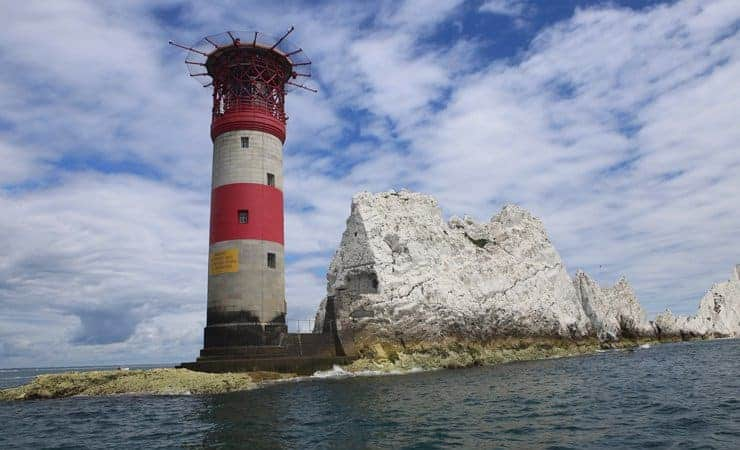 Photo of the Needles Lighthouse - A tourist attraction on the Isle of Wight, UK