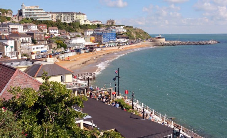 A photograph of the sea front at Ventnor on the south-east coast of the Isle of Wight