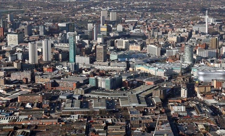 An aerial photograph of Brimingham city centre, uk