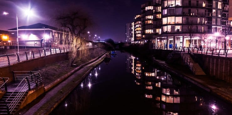 Nightscene of the the Grand Union Canal in Hayes, London