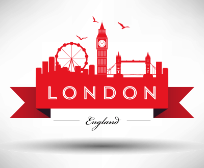 London city skyline graphic with typographic design