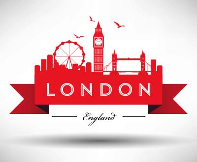 London city skyline graphic with typographic design