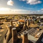 Aerial view of the bottle kilns at Gladstone Pottery Museum in Longford, Stoke on Trent