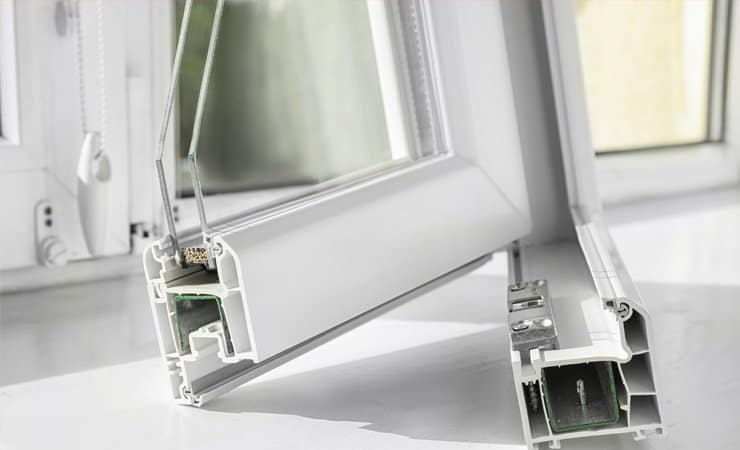 Closeup of a sample of modern double glazing sitting on a sill