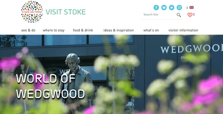 A screenshot of the Visit Stoke website, Stoke-on-Trent tourist information