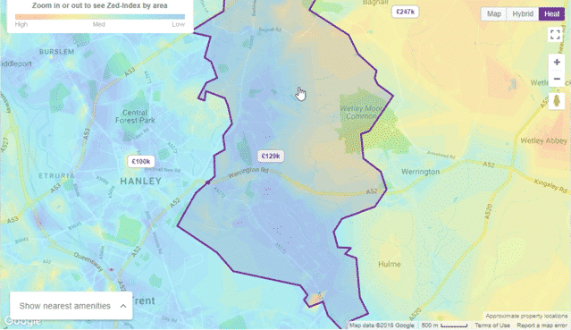 A heat map of house prices in Stok-on-Trent. Screenshot from Zoopla