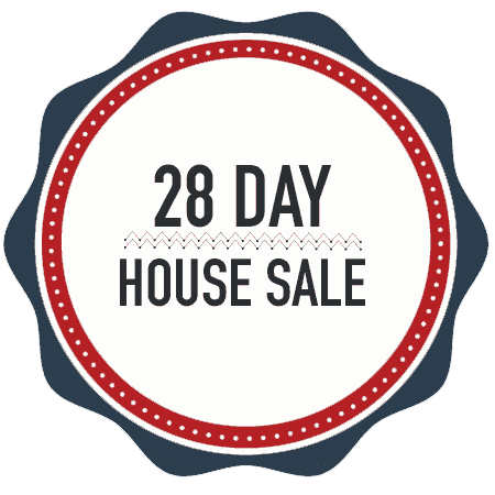 A design element, badge with the text 28 day house sale