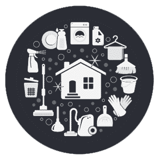 AN icon, design element showing cleaning tools circling a house