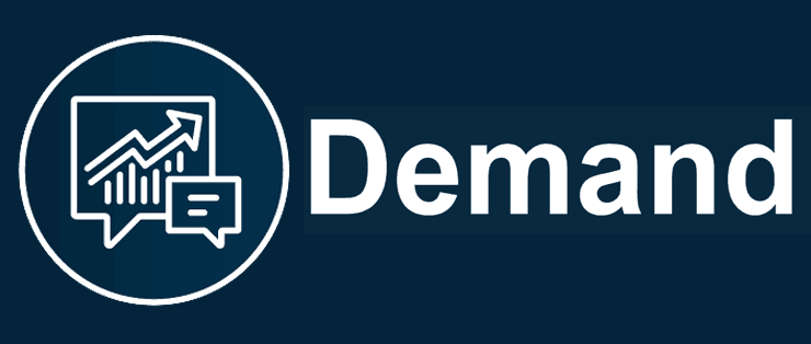 Design element, circluar image with a graph and a speech bubble. Text to the right says, 'demand'