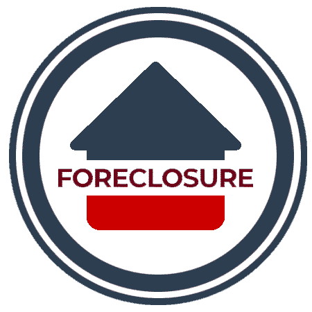 Design element, icon. A circle with a house in the middle of it, the word, foreclosure is written through the centre of the house