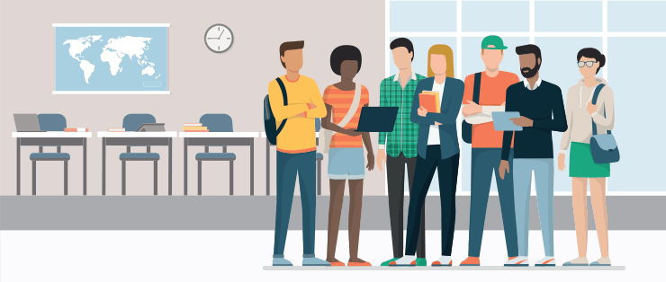 Vector graphic, a group of students standing in the classroom of a university