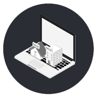 An icon, design element showing a laptop with houses on the keyboard. Property listings.