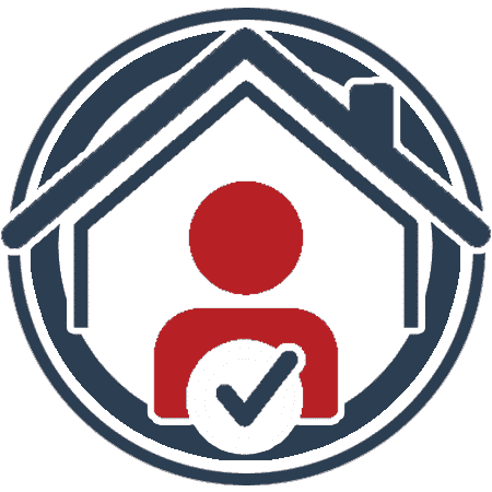 Icon, design element showing a house with a person at the centre and a tick