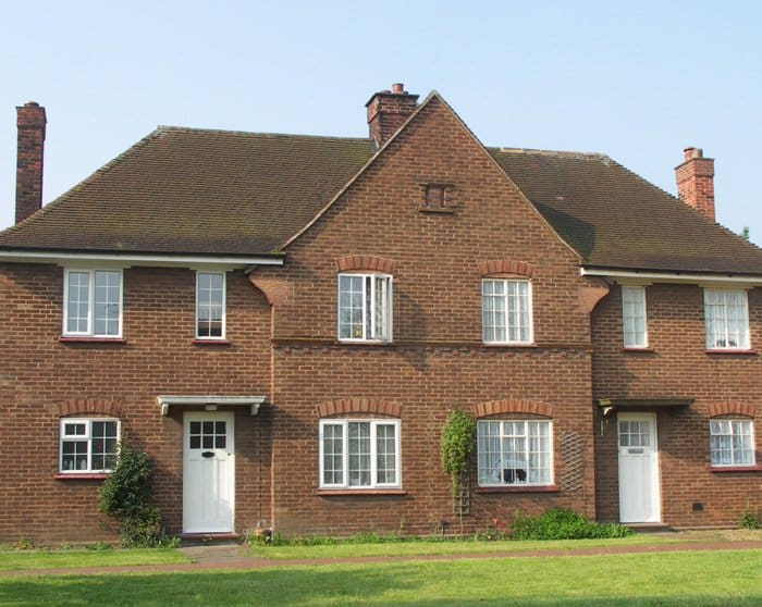 Photograph of 1930s Brick Worker Housing in Stewartby, Bedfordshire. These houses were originally built for employees of the London Brick Company