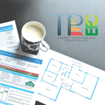Image showing a cup of coffee next to a floor plan and an energy performance certificate. In the top right is the logo for TP EPC - www.tp-epc.co.uk