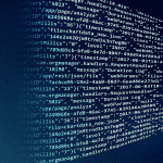 Proptech and Fintech. An image showing computer code on a blue background
