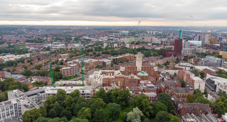 Aerial photograph of the town of Headingley in Leeds