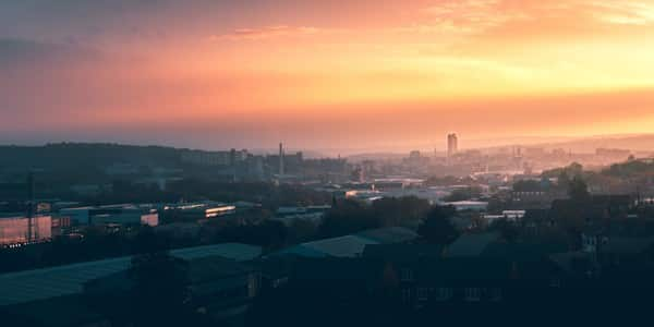 A phtograph of the city of Sheffield at dusk