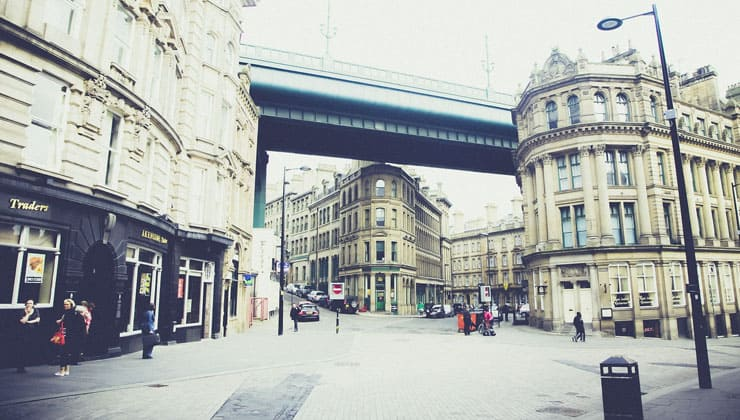 Photograph of a street in the city centre of Newcastle-upon-Tyne