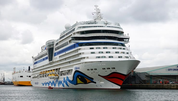 A photograph of a cruise ship docked at Southampton
