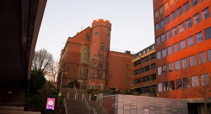 A photograph of Firth Court, part of the campus of the University of Sheffield