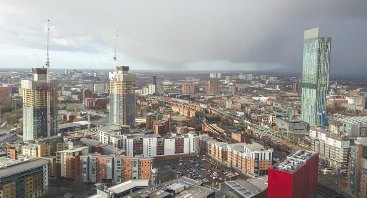 aerial photograph of Manchester city centre