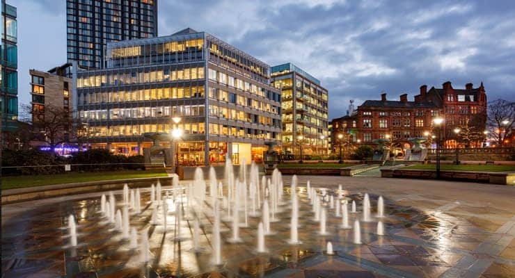 Fountains at sunset, photograph of Millennium Square, Sheffield, UK