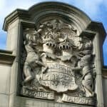 A photograph of the coat of arms at Nottingham Castle