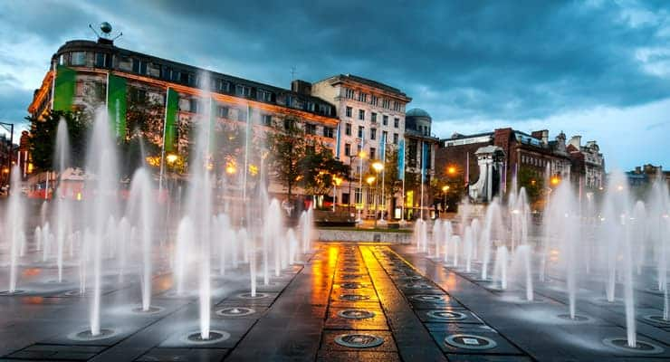 A photograph of the fountains at Piccadilly Gardens in Manchester city centre