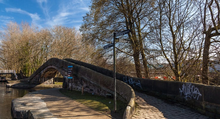 Photograph of the Portland Basin Canal Bridge in Ashton-Under-Lyne, Tameside, Greater Manchester
