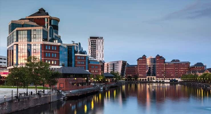 A photograph of Salford Quays in Greater Manchester