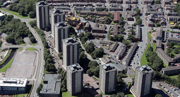 An aerial photograph of the famous seven highrises of Rochdale, known as the Seven Sisters
