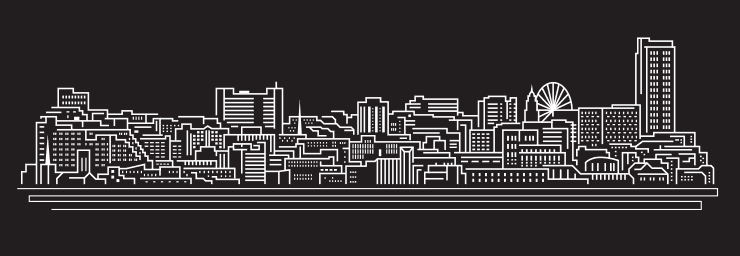 Black and white line art of the Sheffield skyline with landmarks