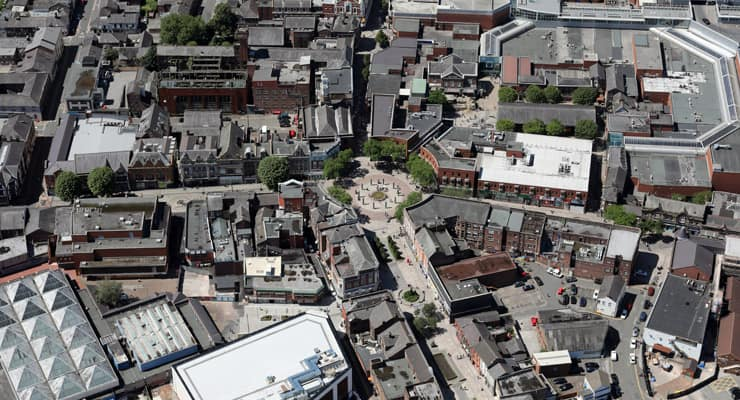 An arial photograph of Warrington town centre