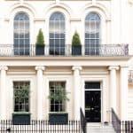 Luxurious apartment house with a white facade, Kensington, London