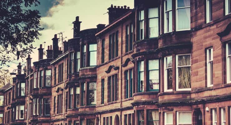 Photograph of tenement apartments in Glasgow