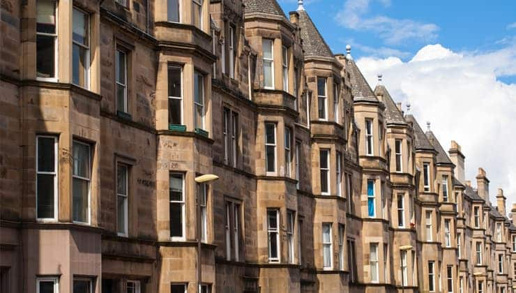 A photograph of tenement housing in Edinburgh's West End