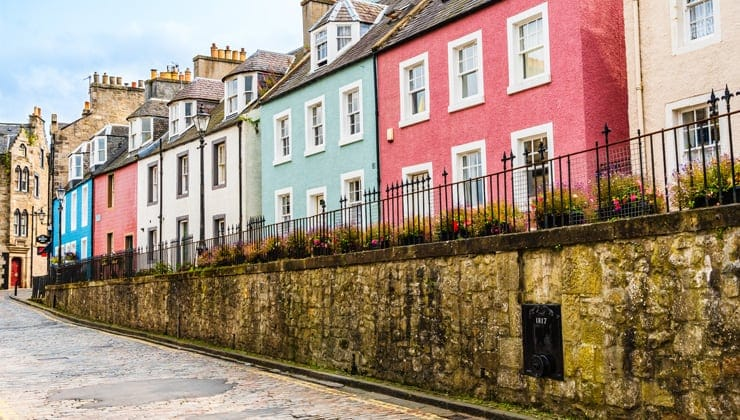 A photograph of colourful terraced houses in Queensferry, Edinburgh