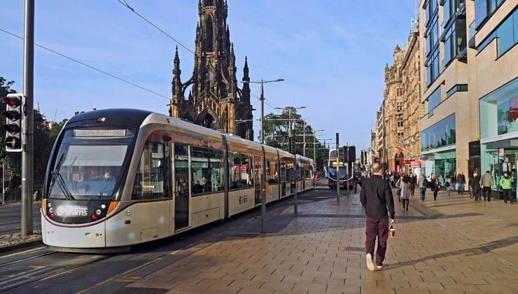 A photograph of a tram on Princes Street in Edinburgh