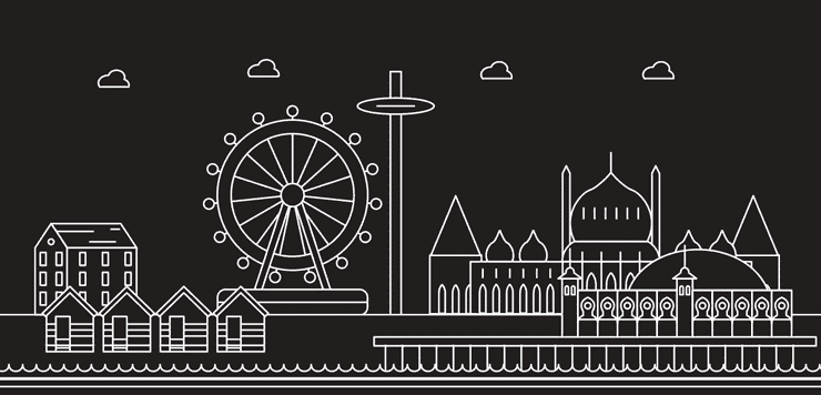 Line drawing of the Brighton skyline showing the coast and famous landmarks